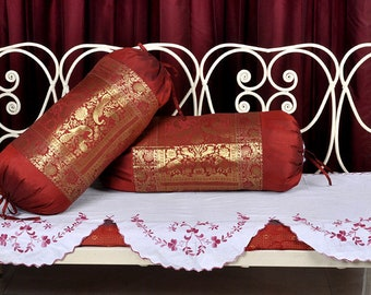Ethnic Sofa Bolster Silk Red Elephant Brocade Pillow Covers Pair