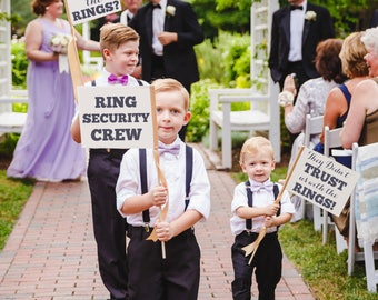 "Ring Security Crew Set 3 Wedding Signs ""Ring Security Crew"" + ""Has Anyone Seen The Rings?"" + ""They Didn't Trust Us With The Rings!"" 1289 SRW"