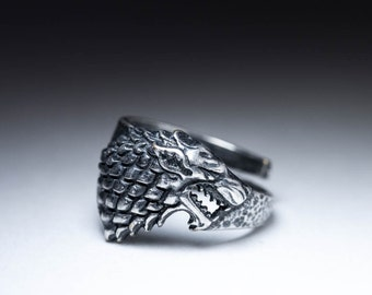 House Stark Direwolf Ring, Game of Thrones, sterling silver, adjustable size, handmade ..... Stark Ring, Game of Thrones Ring