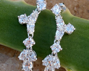 Sterling Silver ~ Simulated Diamond Earrings with 14kt White Gold Bonding, Posts