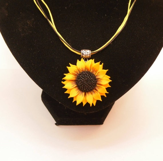 Sunflower pendant necklace polymer clay jewelry gift for her aloadofball Gallery