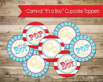 Carnival Baby Shower Cupcake Toppers - Instant Download