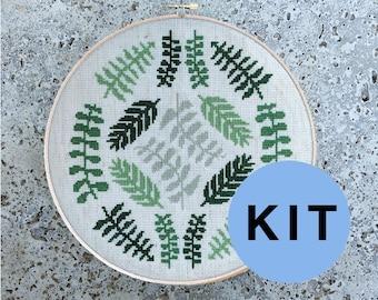 Ferns Light - modern cross stitch kit