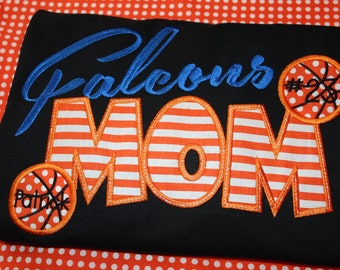 Falcons Basketball Mom shirt- you pick fabric and colors for your school- any school name