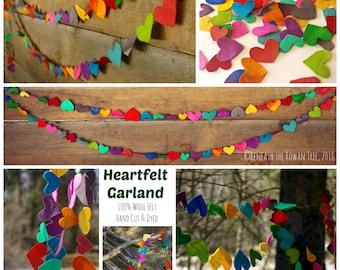 Rainbow Heart Garland: Hand Dyed Wool Felt Hearts Banner (You Choose Length) Nursery Playroom Decor