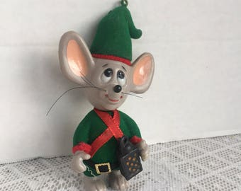 Vintage Flocked Mouse Christmas Ornament /  Merry Mice by Jasco Made in Hong Kong