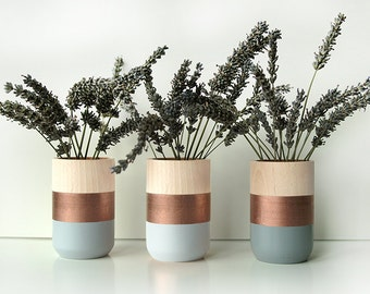 Wooden Vases - Home Decor - Set of 3 - Copper - perfect gift