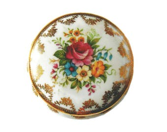 Antique french candy - old small candy box from Limoges - 6 cm in diameter