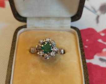Charming Emerald & Diamond Art Deco Era Ring