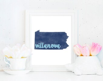 Villanova Wildcats Watercolor State Printable (8x10)