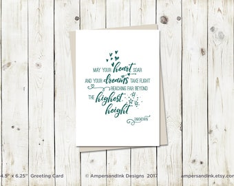 Encouragement Graduation Congrats, May You Heart Soar and Your Dreams Take Flight, Greeting Card with A6 envelope