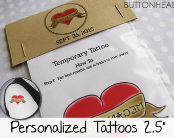 12 Adult Party Favors Personalized Temporary Tattoos with Customized Packaging