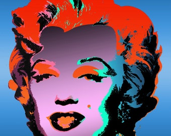 Tribute to Andy Warhol Pop Art 16x16 Marilyn Monroe III Metallic Limited Edition Print Signed by Auric Visual Artist