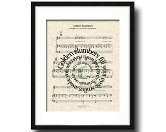 Golden Slumbers Song Lyric Sheet Music Art Print, Nursery Art, Custom Gift, New Baby Gift, Spiral Lyrics Art Print, Names & Date
