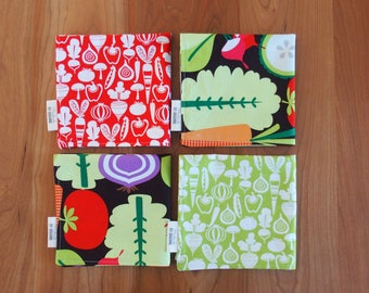 Red Cocktail Napkins with Vegetables in Green, Black, Veggie Napkins, Lunchbox Napkins, Small Napkins, Mix and Match, Lunch Box Napkins