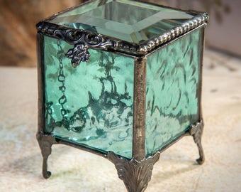 Glass Jewelry Box Keepsake Box Aquamarine Blue Stained Glass Box Vintage Ring Box Wedding Ring Bearer Box Gift for Bridesmaids Mom Box 153-3