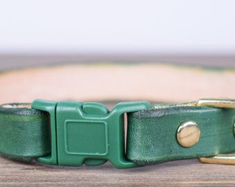 Purrfect Leather Cat Collar - Forest Green - Breakaway Safety Leather Cat Collar - Brass