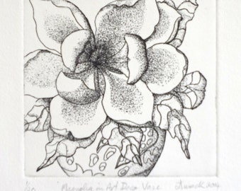Magnolia in Art Deco Vase, Monochrome, Etching, Limited Edition, Hand Pulled,  Still Life, Intaglio, Printmaking, Work on Paper