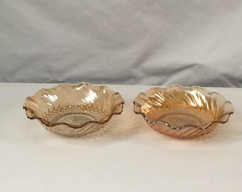 Pair of 1970s vintage marigold carnival glass cereal bowls