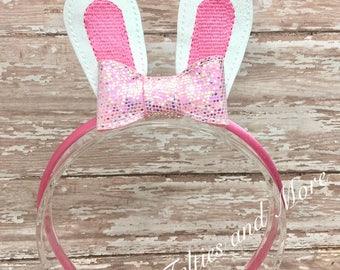 Bunny Headband, Bunny Ears Headband, Bow Headband, Easter Headband, Easter Bunny Headband, Pink Satin Headband, Easter, Easter Bunny