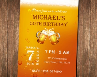 Birthday Invitation For Men, Cheers & Beers, Beer Invitation, 40th birthday invitation for Men, 50th birthday invitation for Men