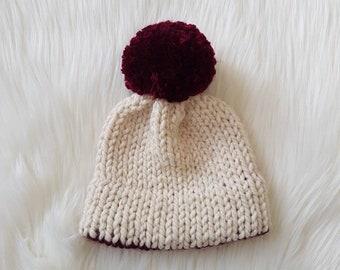 Knit Baby Hat/Pompom Hat/Baby Hat/Baby Girl Hat/Chunky Knit Hat/Chunky Knit Baby Hat/Knit Hat/Winter Hat/Color Block Hat/Double Brim Hat