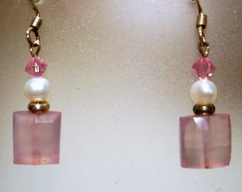Pink Chalcedony Dangle Earrings - E30