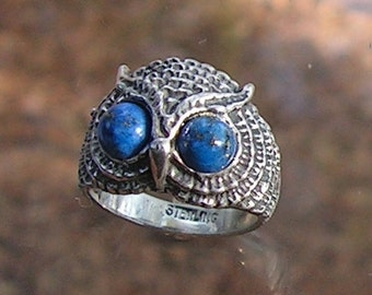 Sterling Silver Owl Ring With Lapis Luzuli Eyes