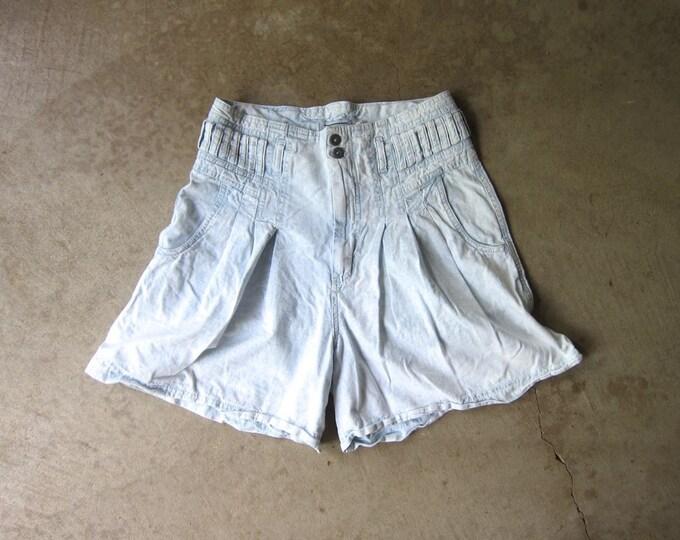 80s Denim Flared Shorts Vintage Bleached Acid Wash 1980s Jean Shorts High Waist Summer Shorts Womens Medium
