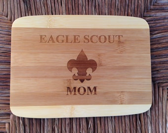 Scout Eagle Mom or Mentor - Bamboo Cutting Board 8 x 6