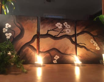 Japanese Cherry Blossom at Dawn Panel Canvases
