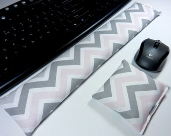 Computer Keyboard and Optional Mouse Wrist Rest Set in Pink and Gray Chevron - Wrist Support