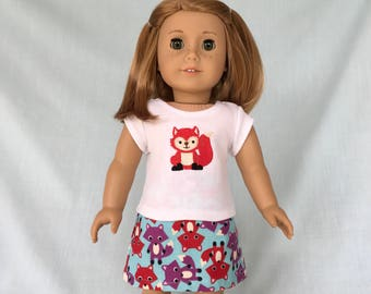 Red Fox T-Shirt and Skirt for American Girl/18 Inch Doll
