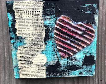 """Lovenotes... 5x5"""" mixed media on wood"""