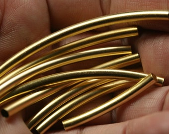 gold plated brass curved tube 5 pcs  3 x 80 mm (2.6 mm hole) finding charm pendant 917-80
