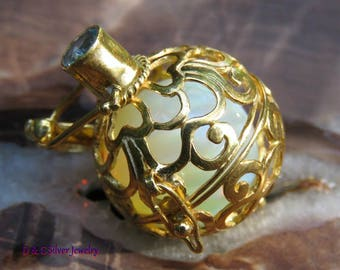 18kt Gold on Silver Pendant with Opalite Sphere Ball ( basket style ) GBP-109-DG