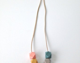 Modern Geometric  Faceted Wood Bead Necklace