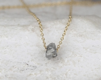 Floating Diamond Necklace - 14K Yellow Gold Raw Diamond Jewellery - Minimalist Jewellery - 14K Yellow Gold Uncut Diamond Necklace