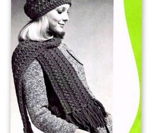 Tam Hat Cap and Scarf in Hairpin Lace Crochet Pattern Vintage 725007
