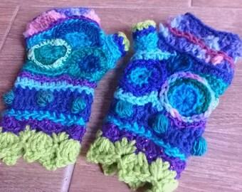 Deep blue sea freeform fingerless gloves arm warmers