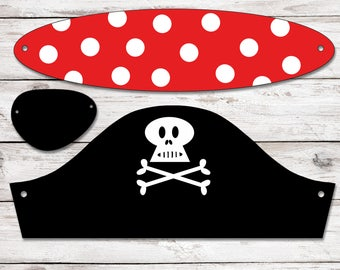 Party hat, Pirate hat, Pirate fancy-dress, Pirate party costume, Pirate party theme, Pirate party idea, Pirate party decor, Instant Download