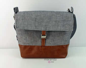 Lulu Medium Flap Messenger Satchel  - Gray Linen and PU Leather READY to SHIP  Travel Business Nappy Bag Stroller Attachment