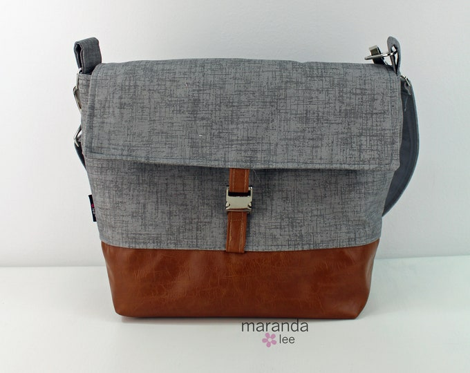 Lulu Medium Flap Messenger Satchel  - Gray Linen and PU Leather READY to SHIP