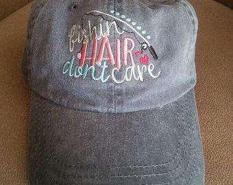 Fishing Hair Don't Care Baseball Cap