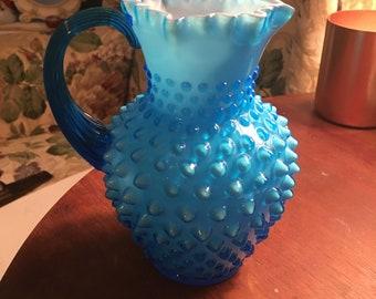 Beautiful blue  hobnail pitcher