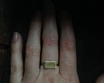 Rich // Brass Stamped Word Ring // Size 5