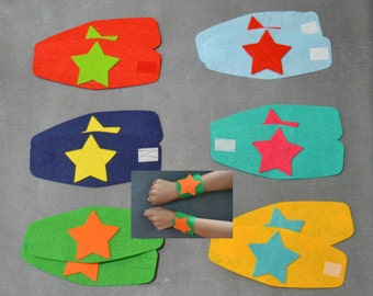 Superhero Wrist Bands-Wrist Bands with Stars-Superhero Party Favors-Superhero Wrist Cuffs-Kids Wrist Cuffs-Superhero Costume for Child