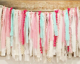 Shabby Chic Scrap Fabric Banner, Garland - White, Turquoise, Gold, Pinks, Pom Pom Trim, Lace