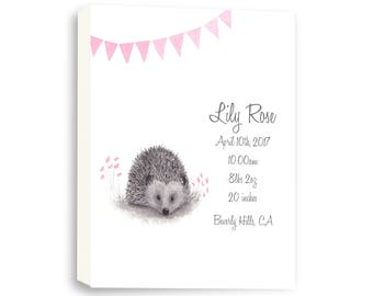 Hedgehog Canvas, Woodland Nursery Art, Baby Birth Stats, Watercolor Art, BabyPink H1001C