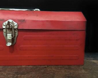 Vintage Red Toolbox, Tool Box, Vintage Tool Storage, Garage Organization, Rustic Decor, Primitive Decor, Man Cave